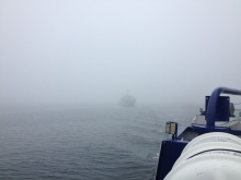Dartmouth Ferry Crossing on a foggy morning