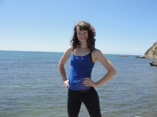 Lunching and pretending to be superwoman (Cook's Cove Trail).